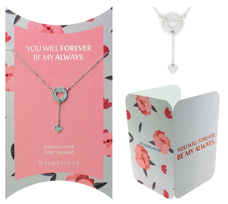 Perfect Gift for Loved One Heart Drop Necklace Message Card Included