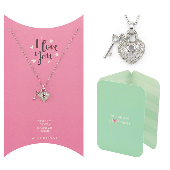 Perfect Gift for Loved One Heart and Key Pendant Necklace Message Card Included