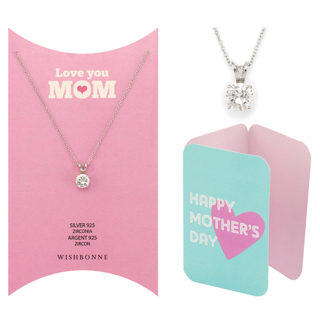 Perfect Gift for Mom Solitaire Pendant Necklace Message Card Included