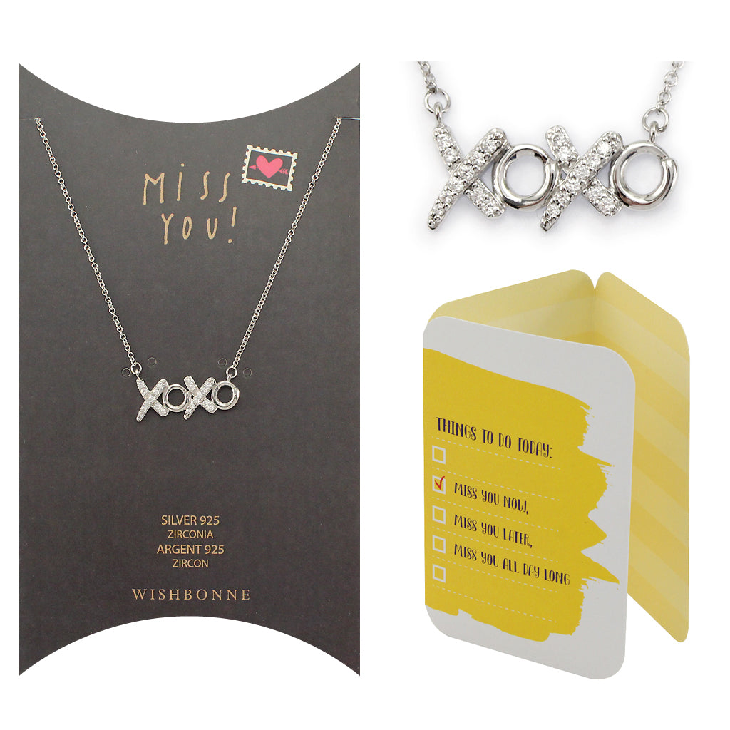 Perfect Gift for anyone XOXO Pendant Necklace Message Card Included