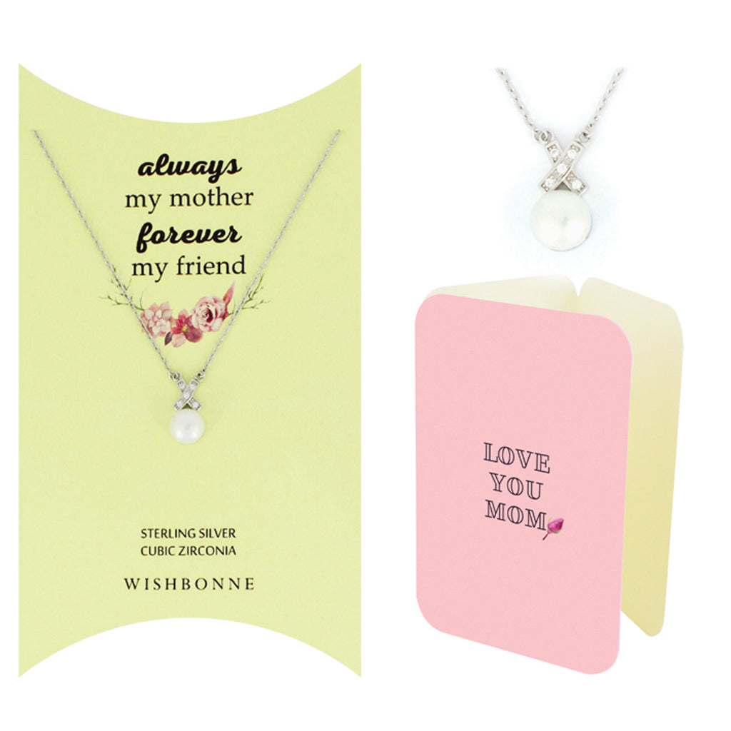 Perfect Gift for Mom Pearl Necklace message Card Included