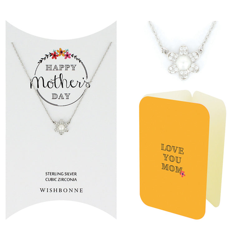 Perfect Gift for Mother's Day Flower with Pearl Necklace Message Card Included