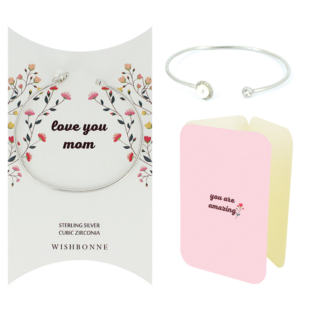 Perfect Gift for Mom Pearl Bracelet Message Card Included
