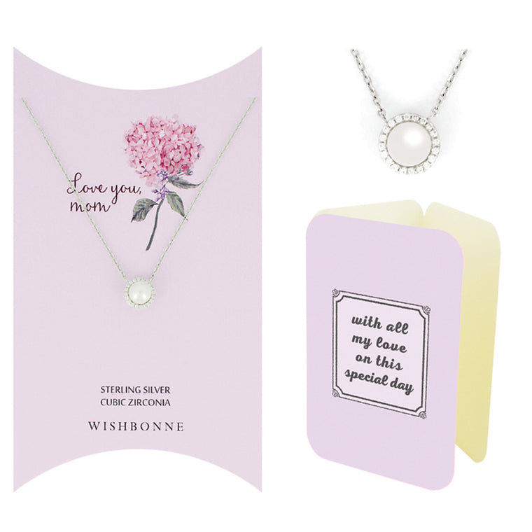 Perfect Gift for Mom PEARL PENDANT NECKLACE Message Card Included