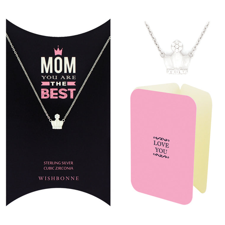 Perfect Gift for Mom Crown Pendant Necklace. Message Card included.