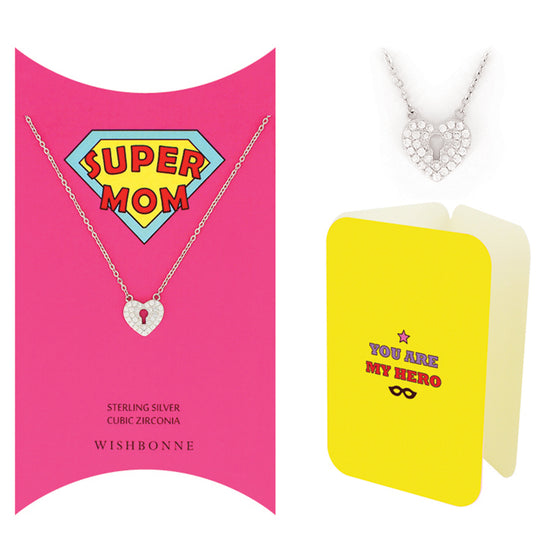 Perfect Gift for Mom Keyhole Heart Necklace. Message Card included.