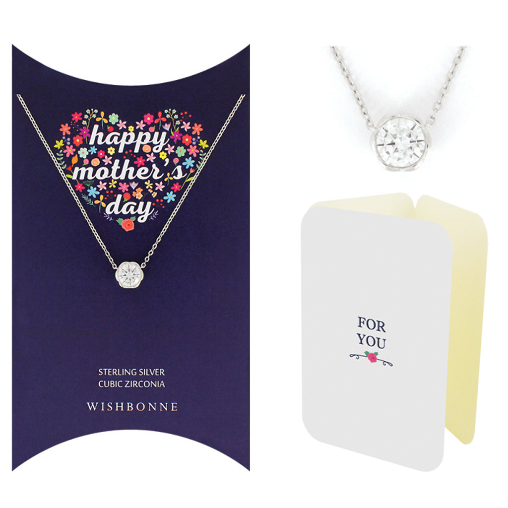 Perfect Gift for Mother's Day Solitaire Necklace message Card Included