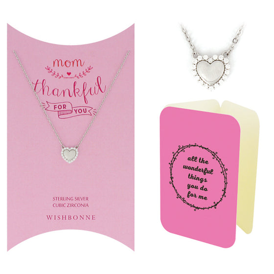 Perfect Gift for Mom Silver Heart Necklace. Message Card Included.