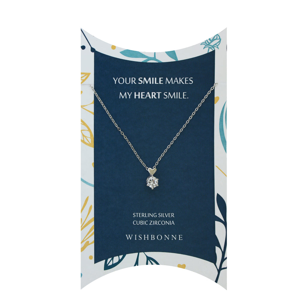 Perfect Gift for anyone Solitaire with Heart Necklace Message Card Included