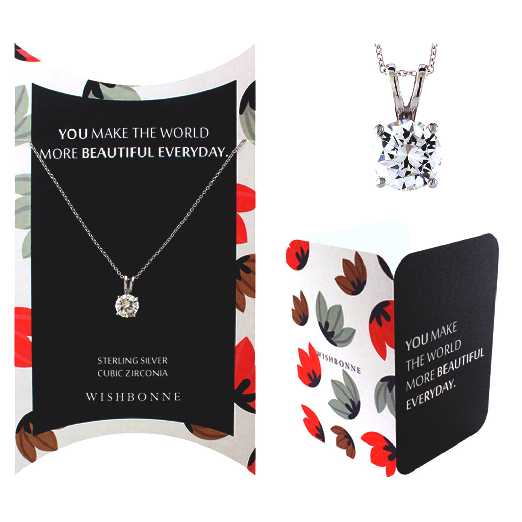 Perfect Gift for anyone Solitaire Pedant Necklace Message Card Included