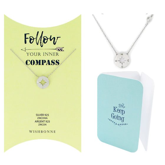 Perfect Gift for anyone Round Compass Pendant Necklace Message Card Included