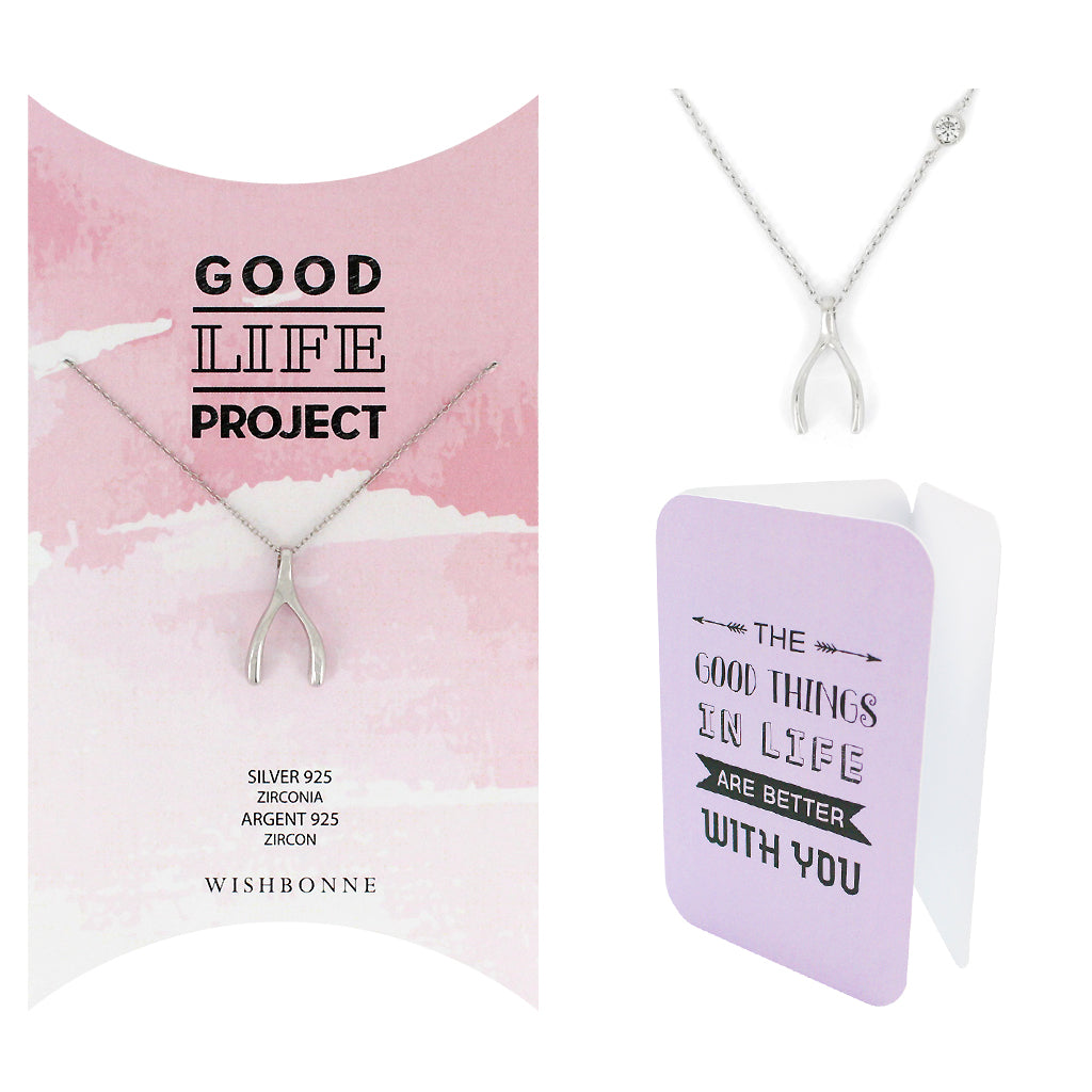 Perfect Gift for anyone Wishbone Pendant Necklace Message Card Included