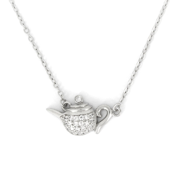 Sterling Silver Teapot Pendant Necklace