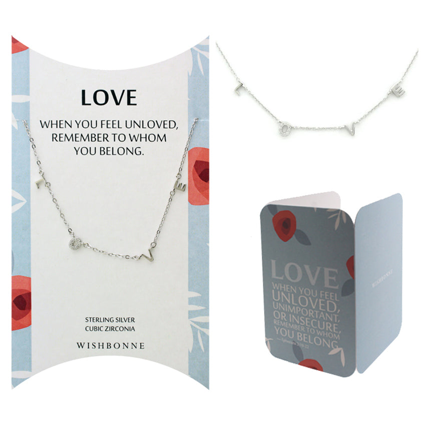 Perfect Gift for Anyone LOVE Necklace with Message Card Included