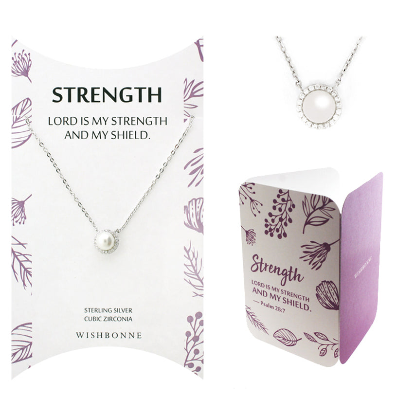 Perfect Gift for Anyone Halo Pearl Necklace with Message Card Included