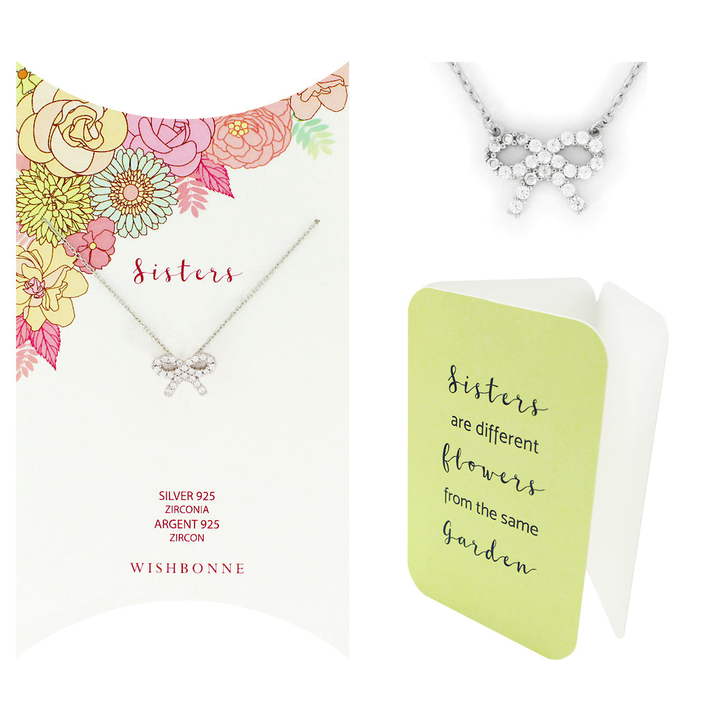 Perfect Gift for anyone Bow Pendant Necklace Message Card Included