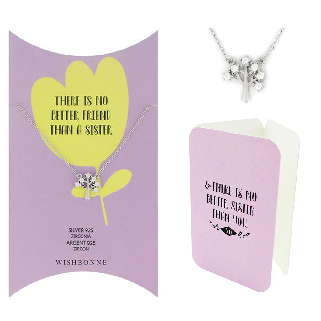 Perfect Gift for Sister Tree Pendant Necklace Message Card Included
