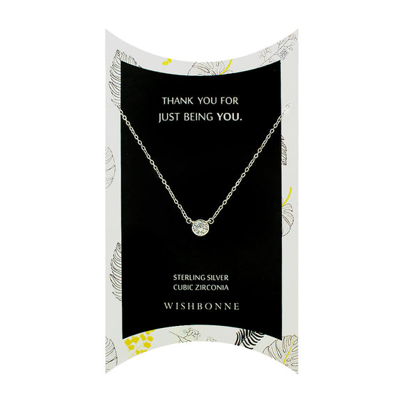 Perfect Gift for anyone Bezel Stone Necklace Message Card Included