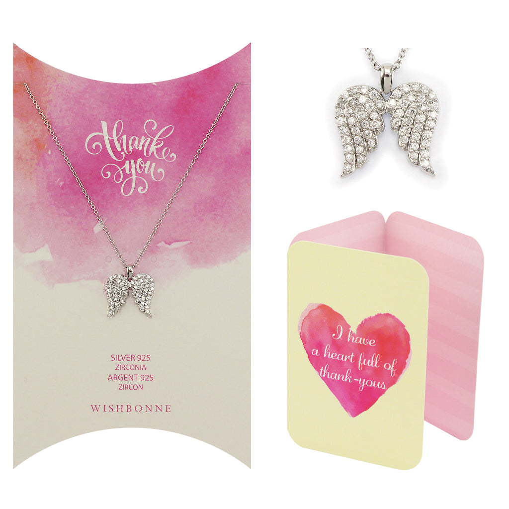 Perfect Gift for anyone Pave Winged Pendant Necklace Message Card Included