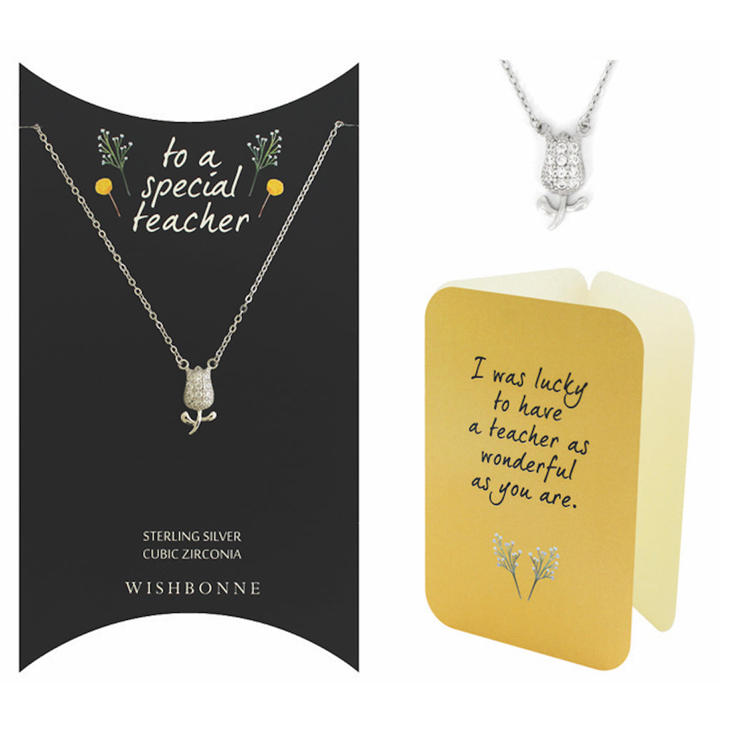 Perfect Gift for Teacher Tulip Pendant Necklace Message Card Included