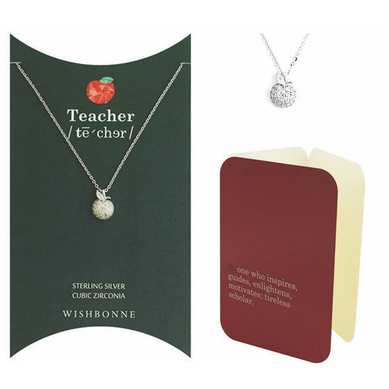 Perfect Gift for Teacher Shiny Apple-Polisher Necklace Message Card Included
