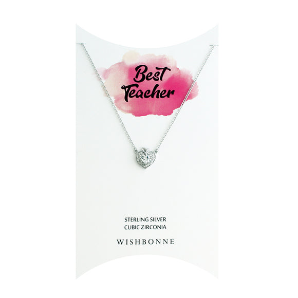 Perfect Gift for Teacher Hearty Apple Necklace Message Card Included