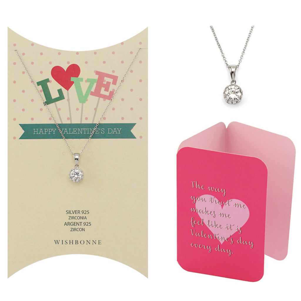 Perfect Gift for Valentine's Solitaire Pendant Necklace Message Card Included