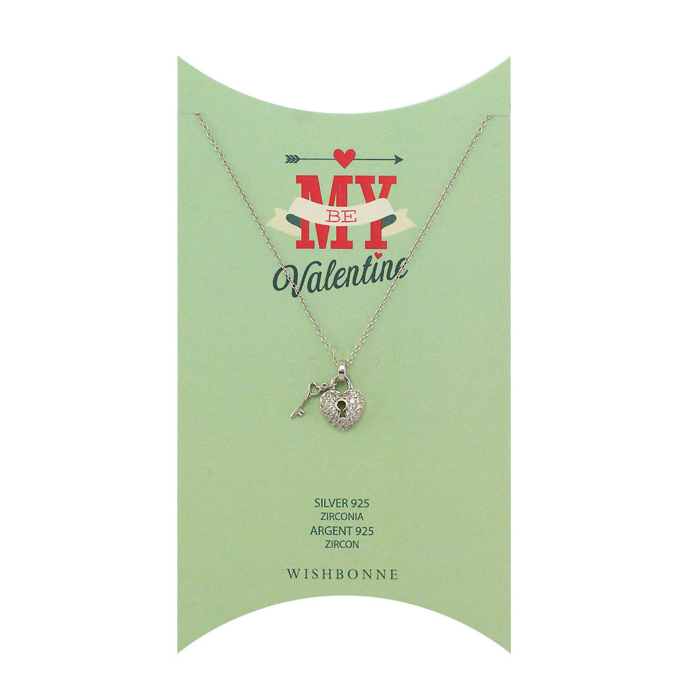 Perfect Gift for Valentine's Heart and Key Pendant Necklace Message Card Included