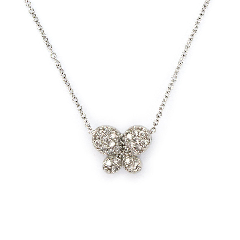 Sterling Silver Pave Butterfly Pendant Necklace