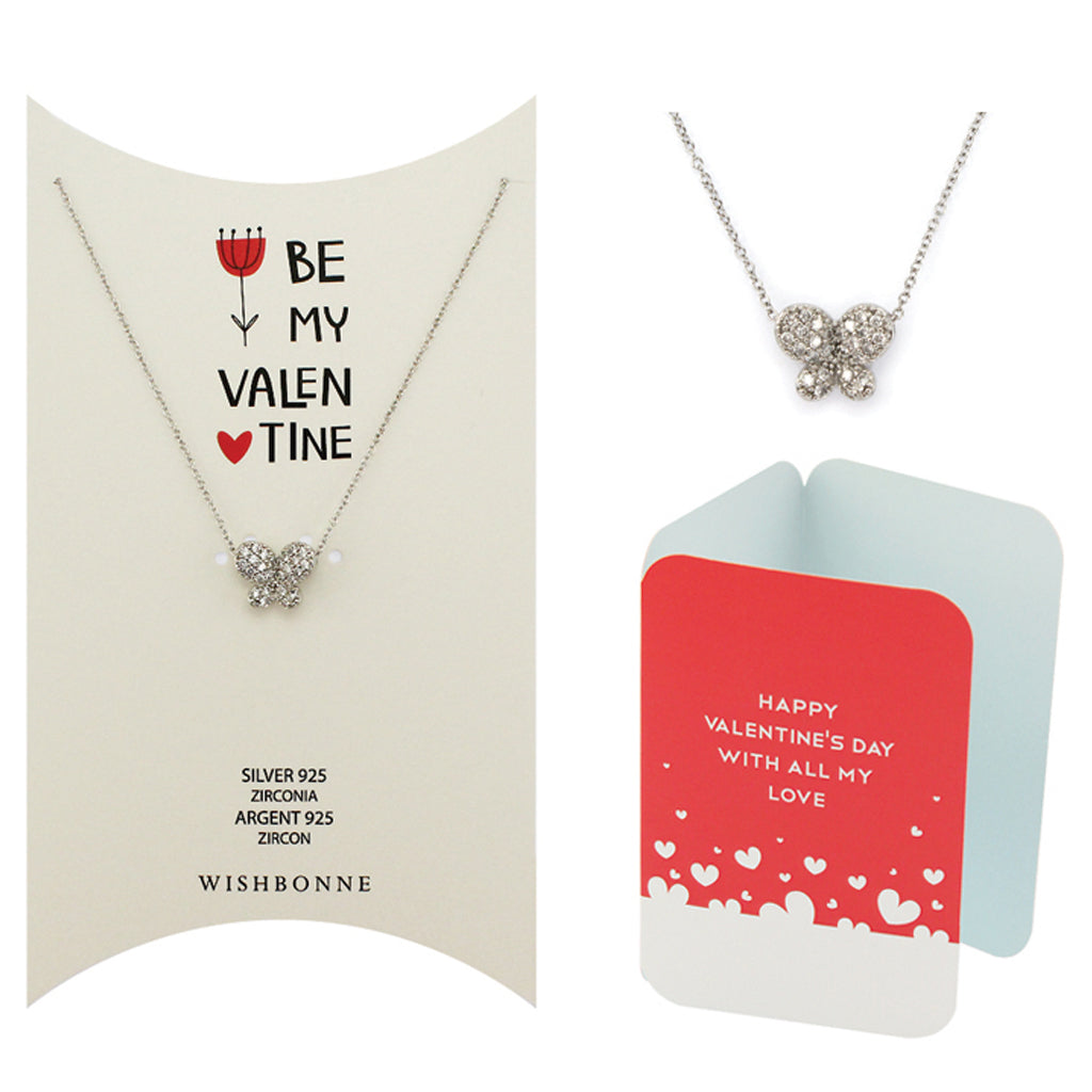Perfect Gift for Valentine's Pave Butterfly Pendant Necklace Message Card Included