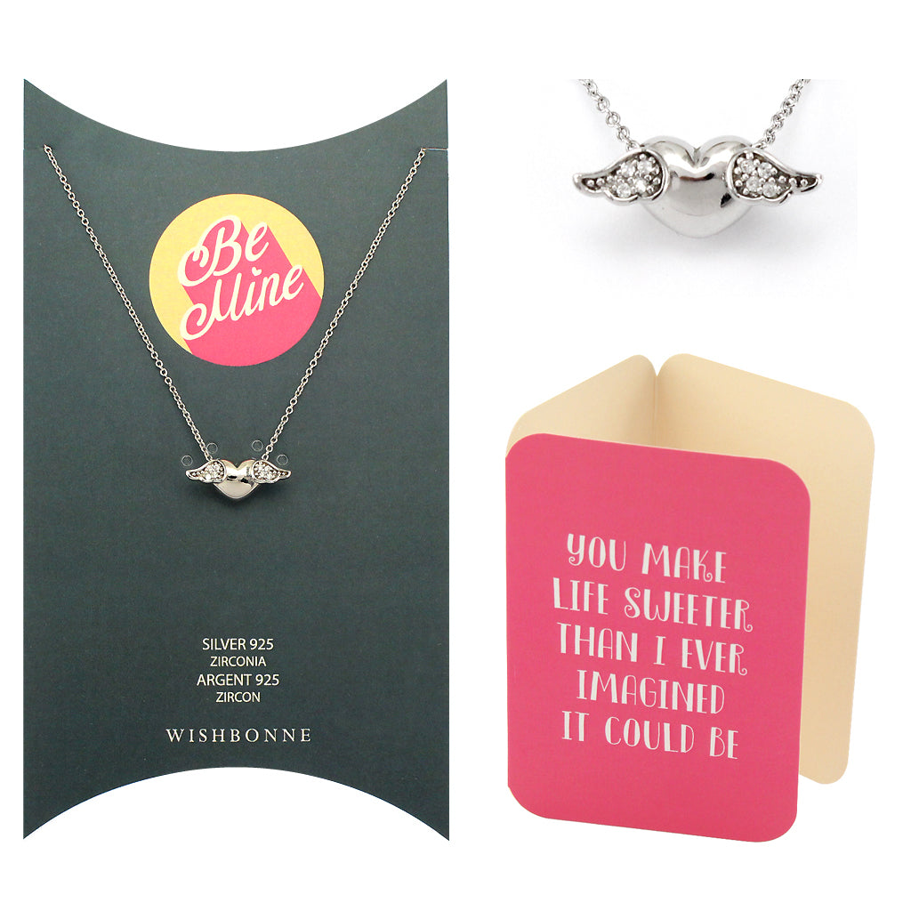 Perfect Gift for Loved One Winged Heart Pendant Necklace Message Card Included