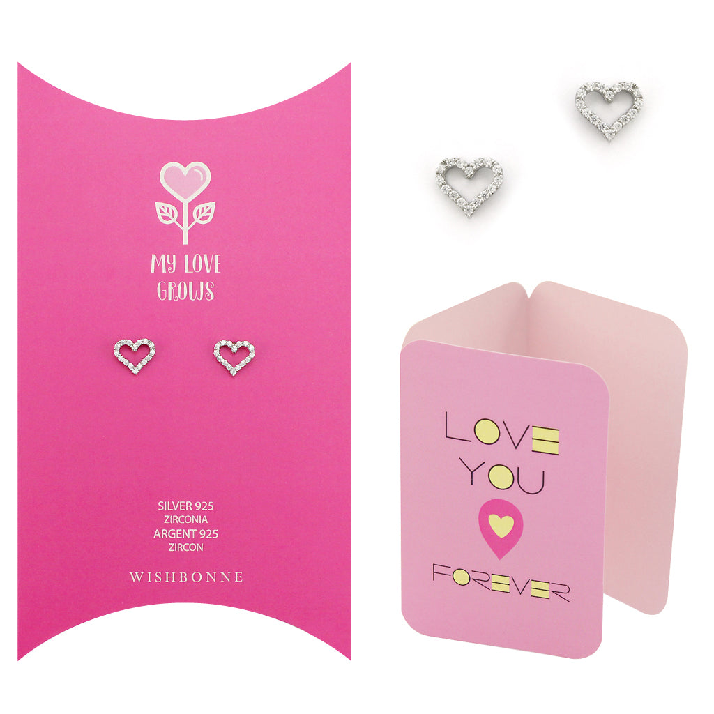 Perfect Gift for Loved One Classic Hearts Stud Earrings Message Card Included