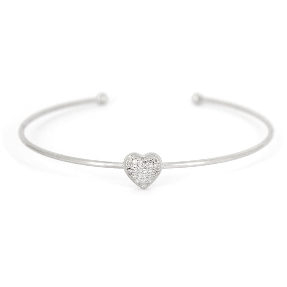 Sterling Silver Heart Cuff Bracelet Set