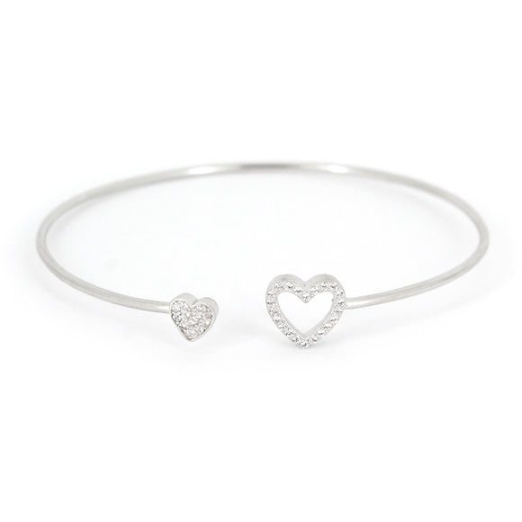 Sterling Silver Double-Heart Cuff Bracelet