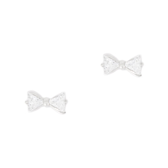 Sterling Silver Bow Tie Stud Earrings