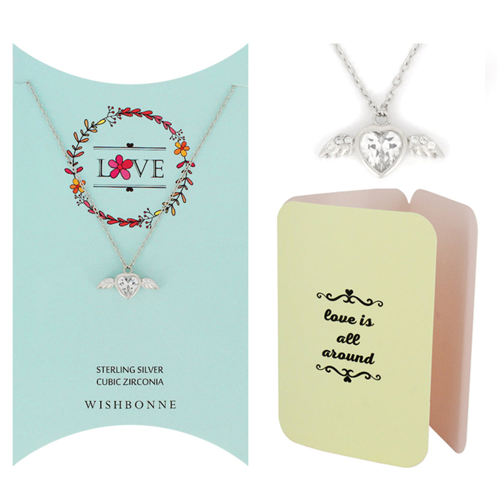 Perfect Gift for Loved One Winged Heart Necklace Message Card Included