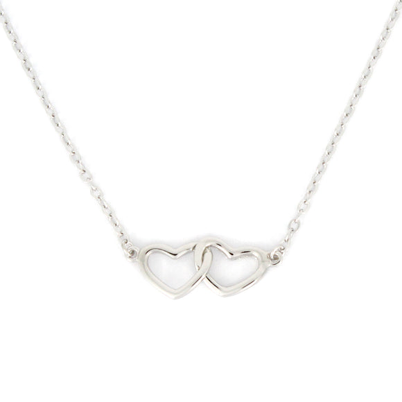 Sterling Silver Double Heart Linked Necklace