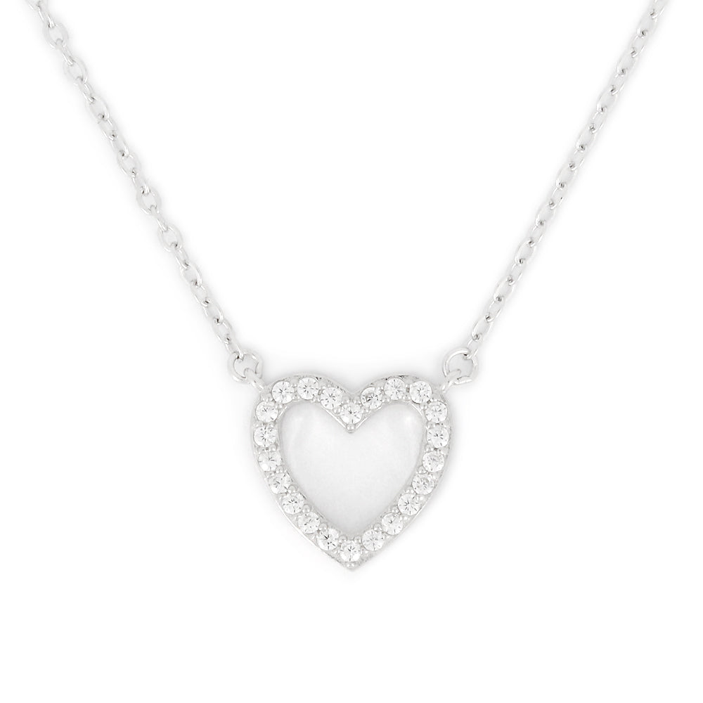 Perfect Gift for Valentine's CZ Heart Necklace Message Card Included
