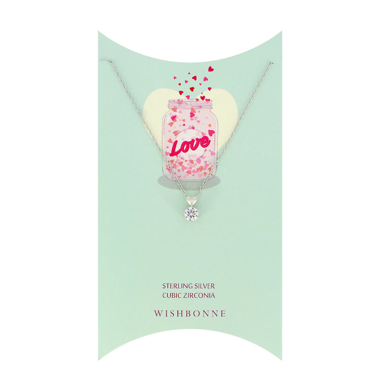 Sterling Silver Solitaire With Heart Necklace