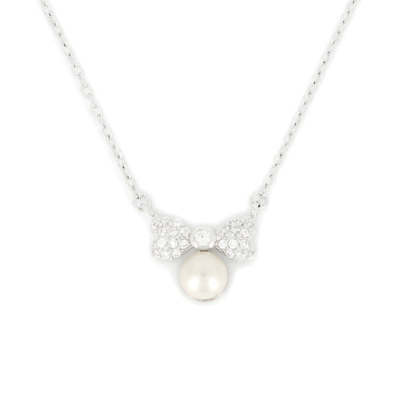 Sterling Silver Bow With Pearl Necklace