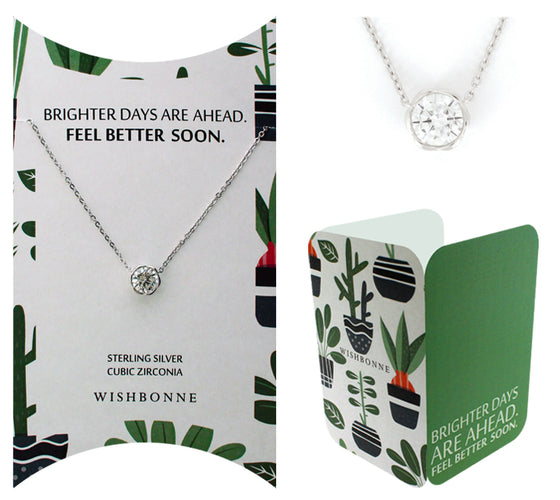 "Perfect Gift for Loved One Bezel Stone Necklace ""Get Well"" Message Card Included"