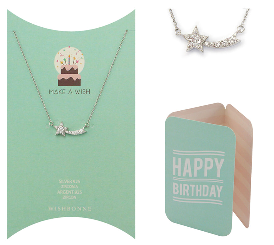 Perfect Gift for birthday Shooting Star Pendant Necklace Message Card Included