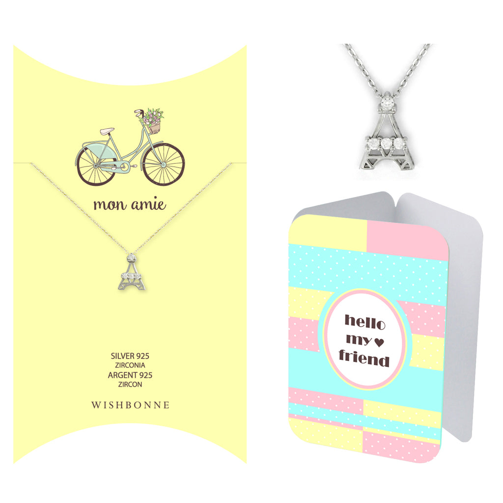 Perfect Gift for Friends Eiffel Tower Pendant Necklace Message Card Included