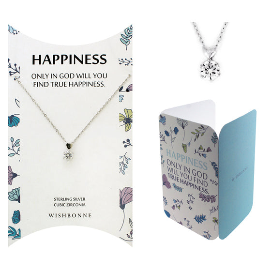 Perfect Gift for Anyone Solitaire with Heart Necklace with Message Card Included