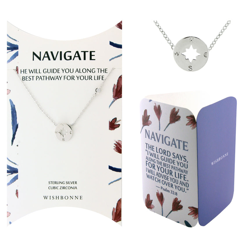 Perfect Gift for Anyone Compass Necklace with Message Card Included