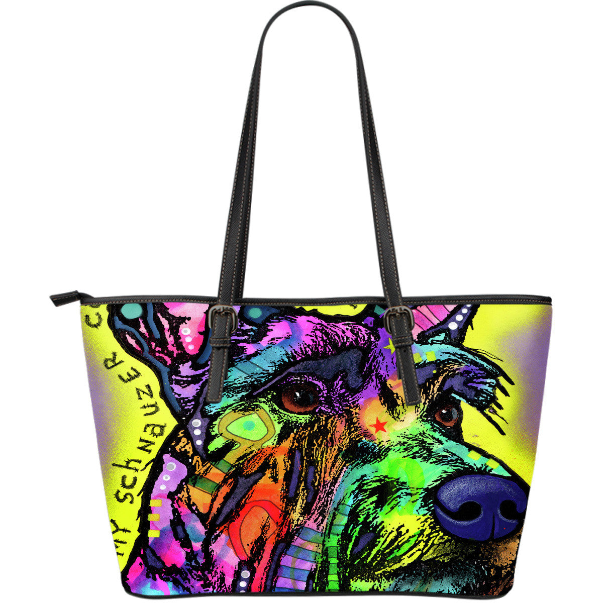 Schnauzer Leather Tote Bags (Large)