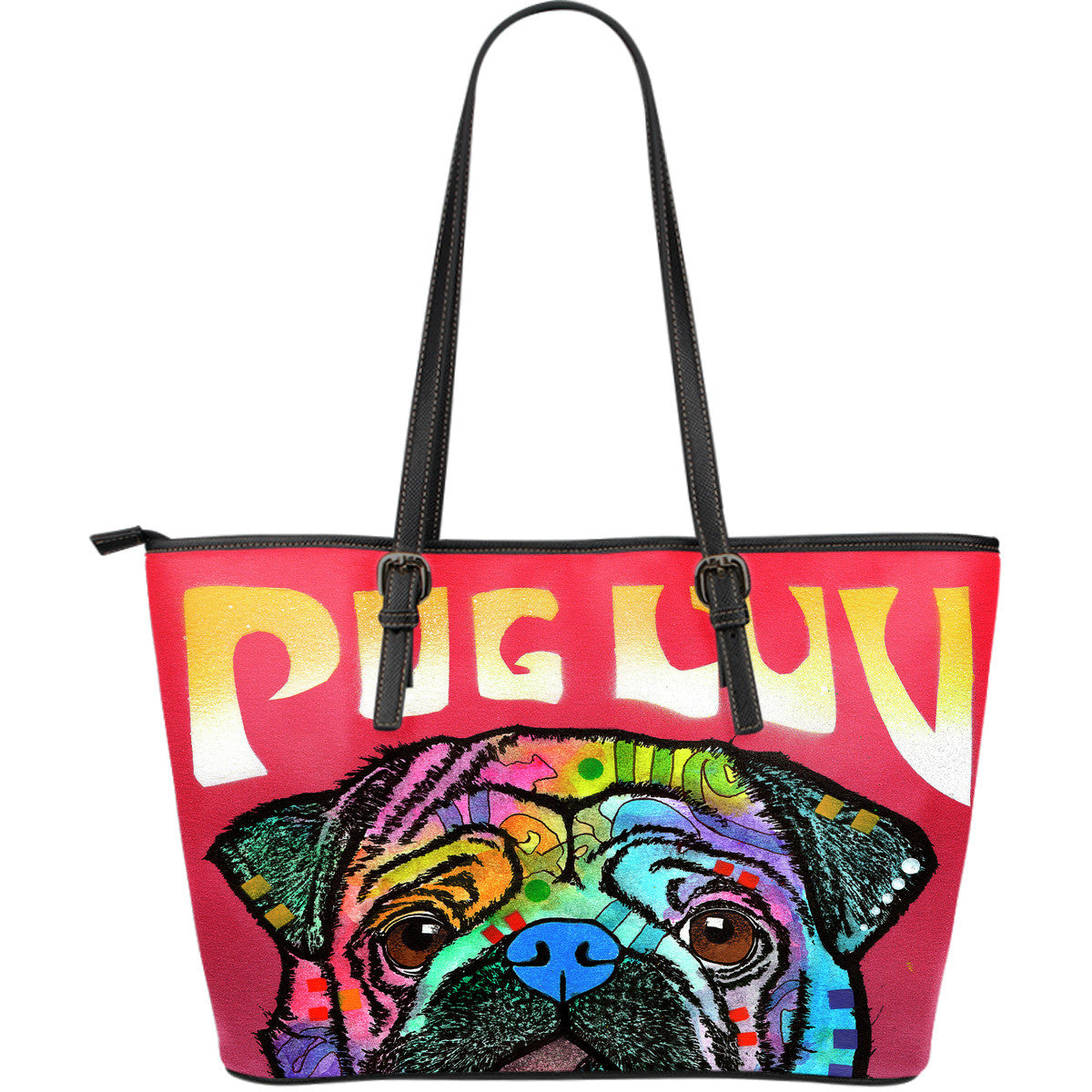 Pug Series Leather Tote Bag (Large)