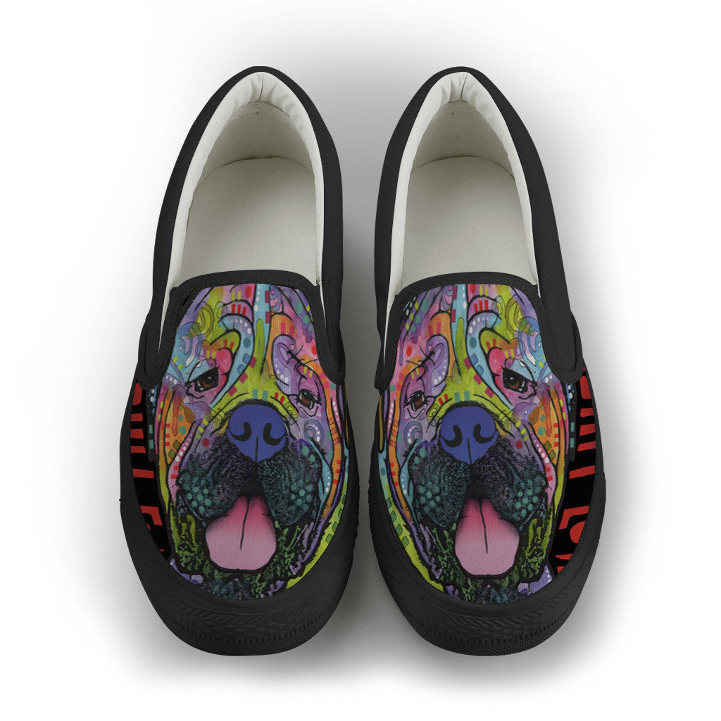 Mastiff Love Mens Slip-On Shoes (Black)
