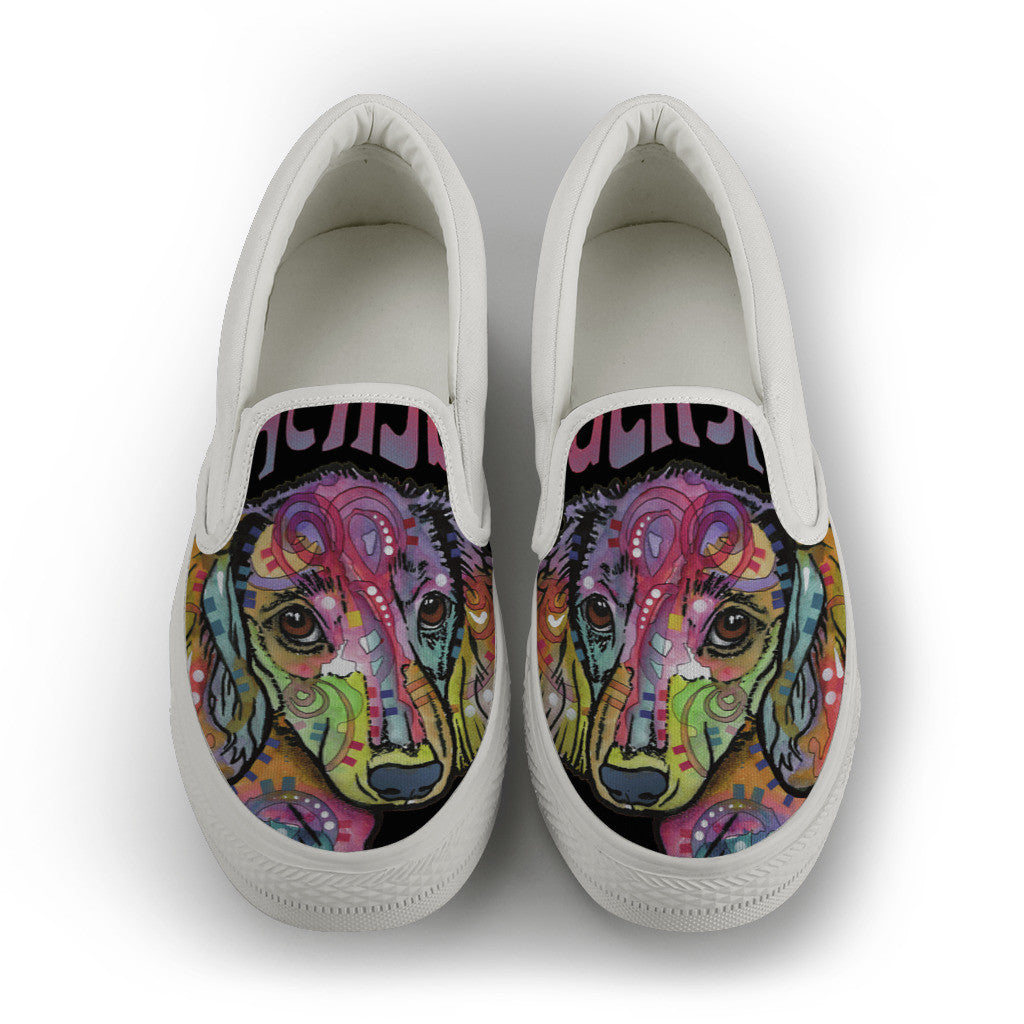 Dachshund Luv Mens Slip-On Shoes (White)