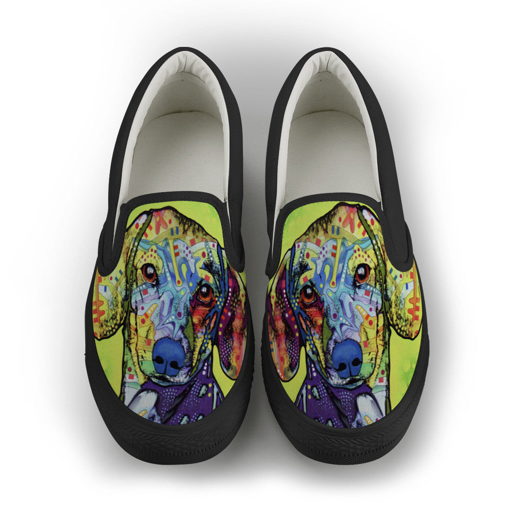 Dachshund Mens Slip-On Shoes (Black)